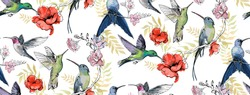 Seamless pattern with floral romantic elements, hand drawn colibri for your design. Endless texture, sketch humming-birds, watercolor flowers, isolated on white background. Vector illustration.