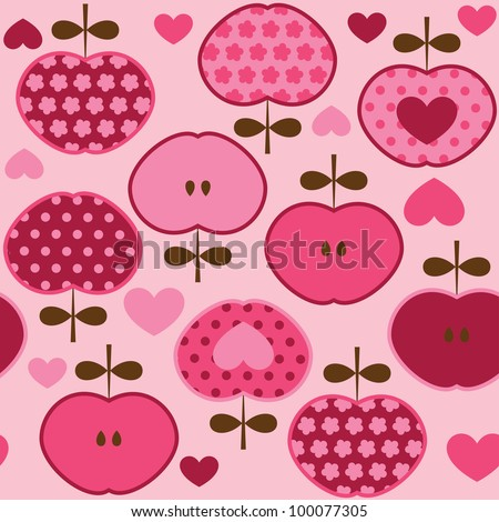 Seamless pattern with floral stylized apples