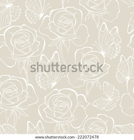 Seamless pattern with flower rose and butterfly . Floral ornament. Hand-drawn contour lines and strokes.  Retro background, pastel colors. Wedding background.