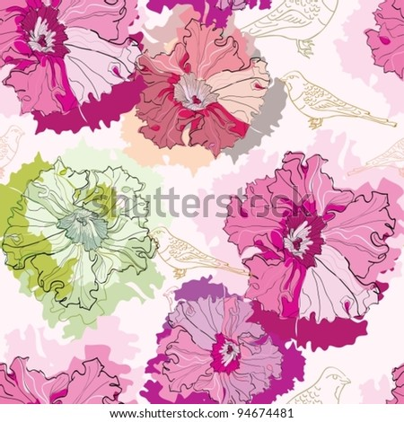 seamless pattern with flowers and birds, beautiful  vector illustration