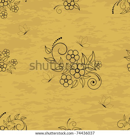 Seamless pattern with flowers and butterflies on grunge background. Vector.