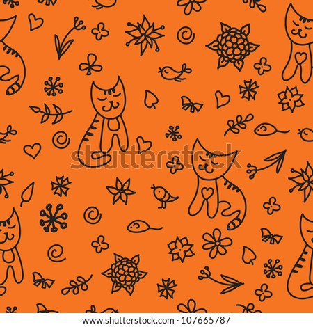 seamless pattern with flowers and cats. Can be used for wallpaper, pattern fills, web page background, surface textures, textile.