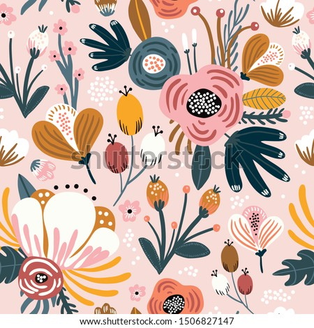 Seamless pattern with flowers, berries and  leaves. Creative floral texture. Great for fabric, textile Vector Illustration