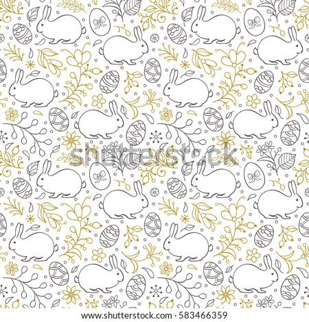 Seamless pattern with flowers,bunnies, and easter eggs on white background. Vector illustration.