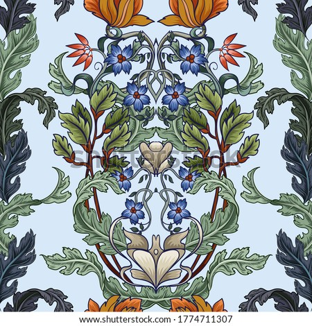 Seamless pattern with flowers in art deco style. Modern trendy print. ストックフォト ©