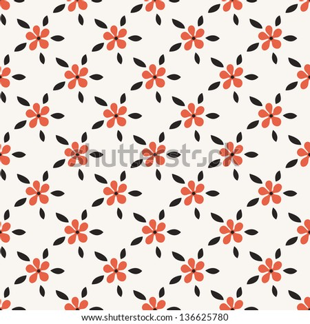 Seamless pattern with flowers in stile of polka dot. Stylish vector texture