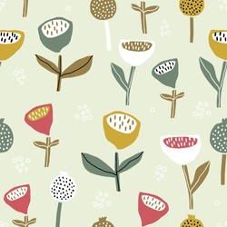 Seamless pattern with flowers inscandinavian style. Creative floral pastel texture. Great for fabric, textile Vector Illustration