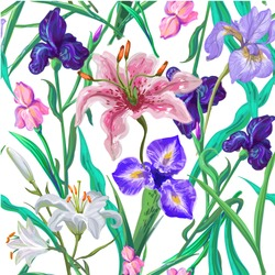 Seamless pattern with flowers. Iris. Lily. Vector. Hand drawn.