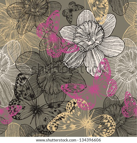Seamless pattern with flowers narcissus and pink butterflies hand drawing Vector illustration
