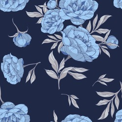 seamless pattern with flowers of blue peonies, with gray leaves on a dark blue background. vector illustration