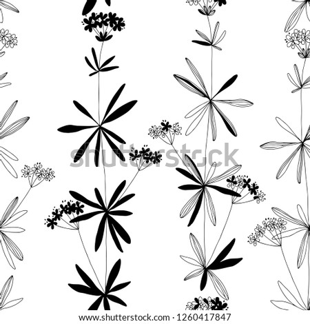 Seamless pattern with flowers on white background. Monochrome vector illustration.  Floral background. #1260417847