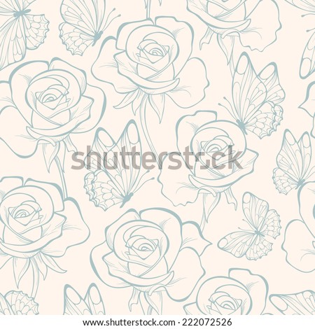 Seamless pattern with flowers roses and butterfly . Floral ornament. Hand-drawn contour lines and strokes.  Retro background.