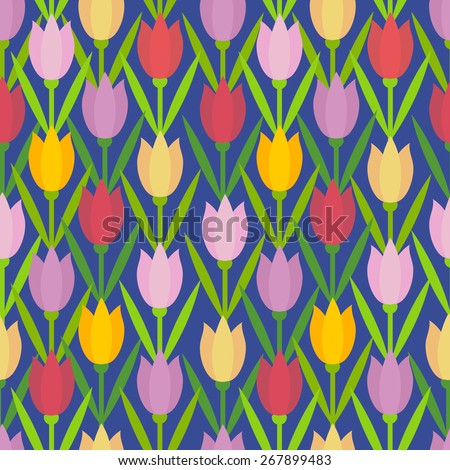 Seamless pattern with flowers tulips on dark blue background. Vector floral illustration. Tulips ornaments.