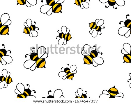 Seamless Pattern with flying bees. Vector Cartoon black and yellow bees isolated on white background. Cartoon doodle cute bees seamless line pattern Stockfoto ©