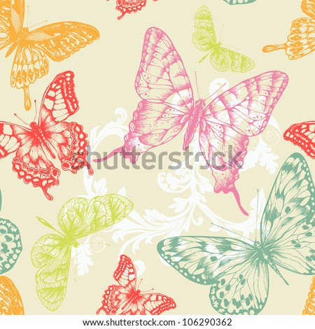 Seamless pattern with flying butterflies hand-drawing Vector illustration