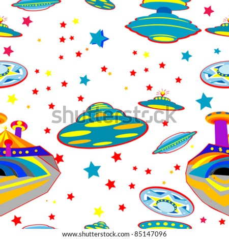 seamless pattern with flying saucers over white background