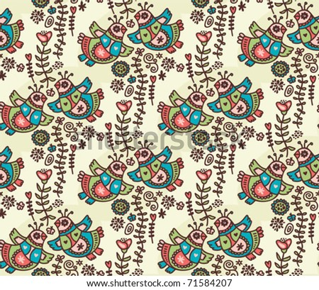 Seamless pattern with folk birds, hearts and flora. Vector doodle illustration.