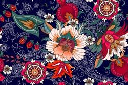 Seamless pattern with folk flowers
