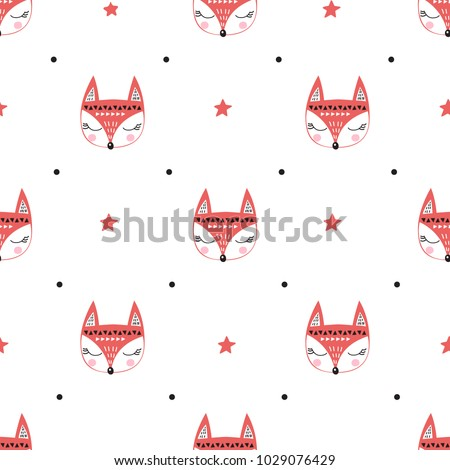 seamless pattern with fox's
