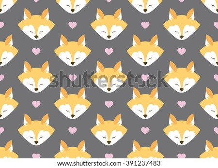 Seamless pattern with foxes and flowers. Bright colors. Dark gray background. Wrapping.  For decorating postcards, backgrounds, packages.