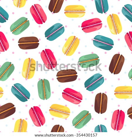 Seamless pattern with french sweet macaroons. Cute donuts isolated on white background. Delicious desserts. Fresh bakery. Can be used in food industry for wallpapers, posters, wrapping paper. Vector - stock vector