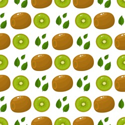 Seamless pattern with fresh whole and half kiwi fruit and leaves on white background. Summer fruits for healthy lifestyle. Organic fruit. Cartoon style. Vector illustration for any design.