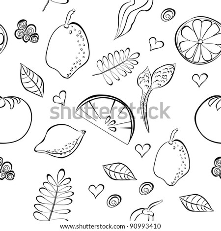 Seamless pattern with fruit and vegetable