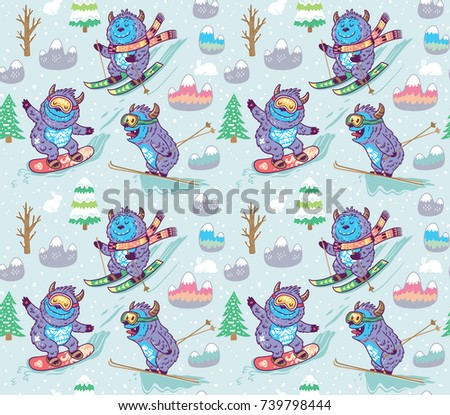 seamless pattern with fun yeti