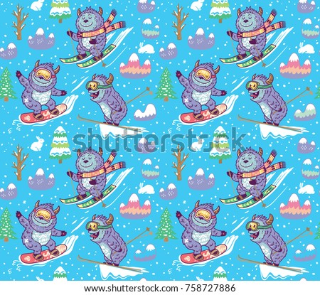 seamless pattern with fun yetis