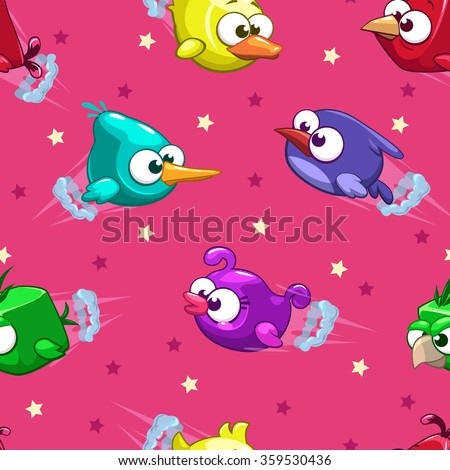 stock-vector-seamless-pattern-with-funny-cartoon-comic-flying-birds-and-stars-on-pink-background-vector
