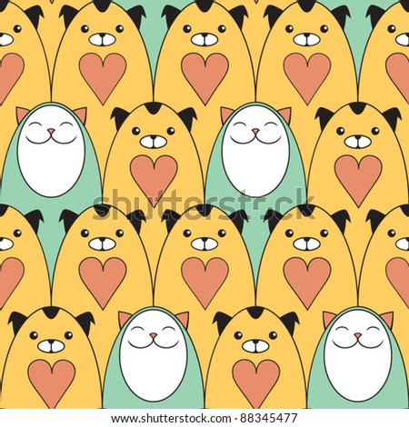 Seamless pattern with funny dogs and cats