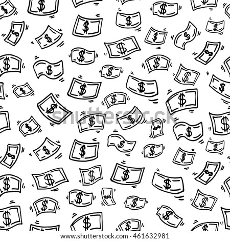 Seamless pattern with funny doodle money rain