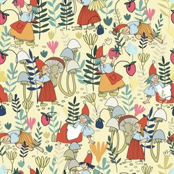 Seamless pattern with funny female gnome gathering berries, mushrooms, flowers. Fairy tale elf girls in red hats and wooden shoes in the forest. Vector illustration for children