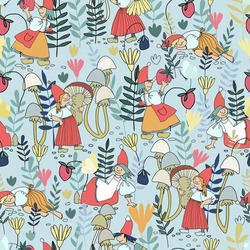 Seamless pattern with funny female gnomes gathering berries, mushrooms, flowers. Fairy tale elf girls in red hats and wooden shoes in the forest. Vector illustration for children