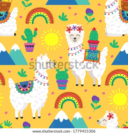 seamless pattern with funny llama and cacti -  vector illustration, eps