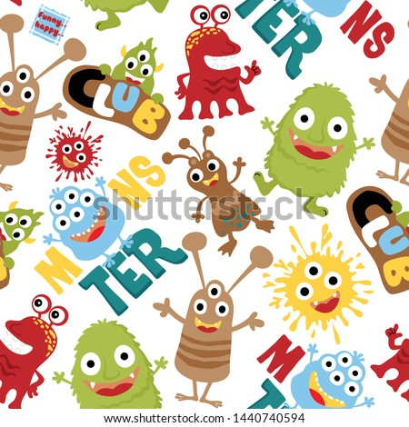 Seamless pattern with funny monster cartoon #1440740594