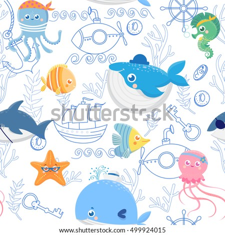 seamless pattern with funny sea