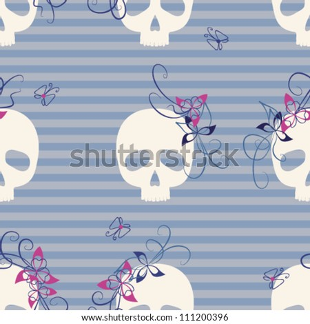 seamless pattern with funny skulls, flowers and butterflies