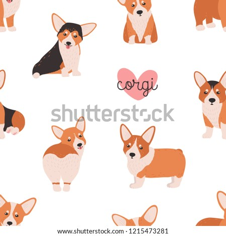 Seamless pattern with funny welsh corgi on white background. Backdrop with small adorable purebred dog, doggy, funny pet or domestic animal. Colorful vector illustration in flat cartoon style.