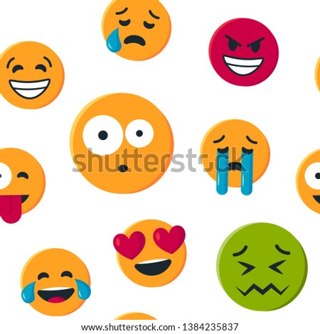 Seamless pattern with funny yellow emoticons. Vector illustration isolated on white background