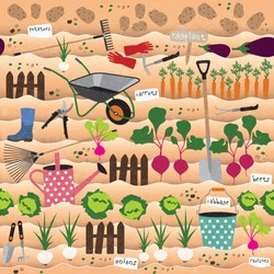 Seamless pattern with gardening icons and vegetables