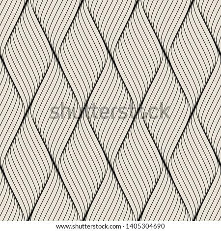 Seamless pattern with geometric waves. Endless stylish texture. Ripple monochrome background.