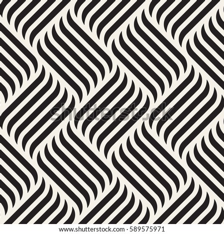 Seamless pattern with geometric waves. Endless stylish texture with bold elements. Ripple monochrome background.