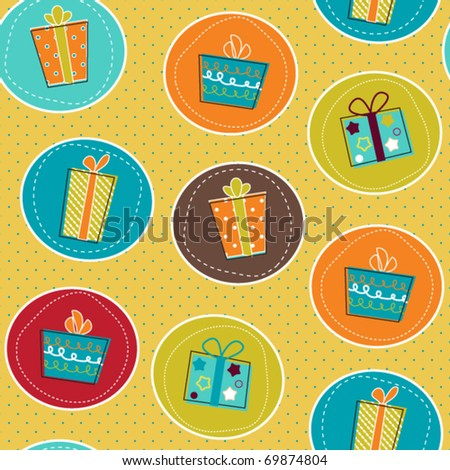 Seamless pattern with gift boxes, paper wrap