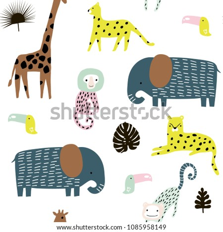 Seamless pattern with giraffe, leopard,tucan, elepahant, monkey and tropical elements. Creative jungle childish texture. Great for fabric, textile Vector Illustration