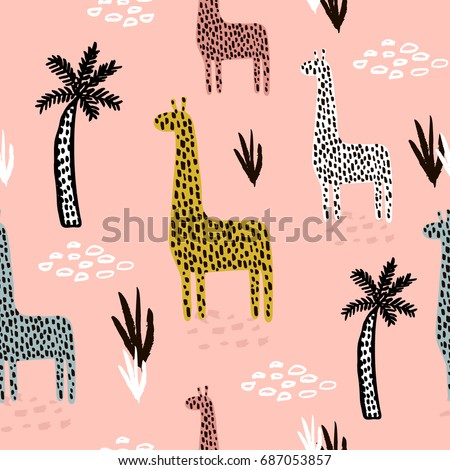 Seamless pattern with giraffe, palm tree, hand drawn shapes and textures. African texture for fabric, textile. Vector background