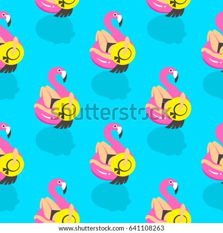 seamless pattern with girls on