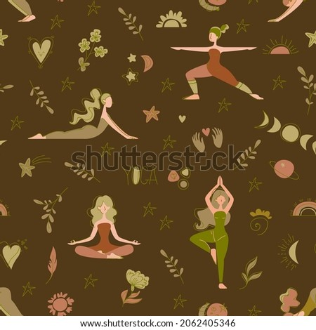Seamless pattern with girls who do yoga and stand in different assanas on a brown background. Decor made of people, constellations, sun, moon and plants. Vector characters