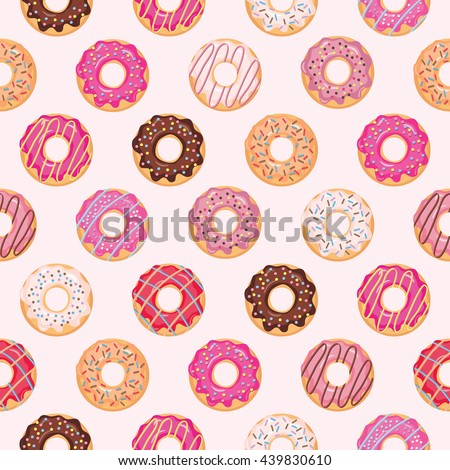 Seamless pattern with glazed donuts. Pink colors. Girly.