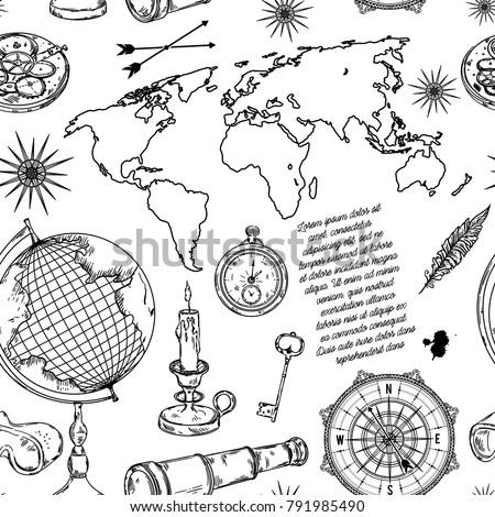 seamless pattern with globe